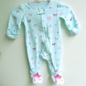 carters one piece unicorn teal foot & mits nb